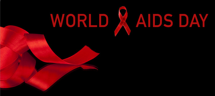 A red ribbon and  the words World AIDS day.