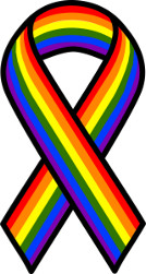 Ribbon in the rainbow colours of the LGBTI movement