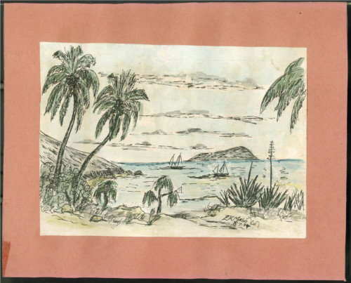 Drawing of the beach and bay from Mer, showing sailing boats and palm trees