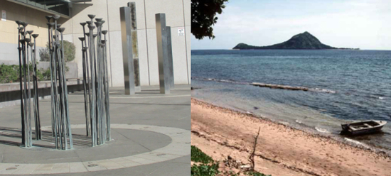 A sculpture memorialising Aboriginal people who have been massacred in Queensland, and a picture of the beach at Mer which was the subject of the Mabo native title claim.
