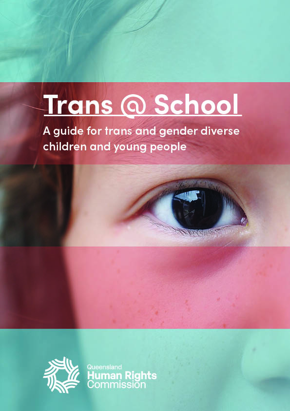A close up photograph of a child's face overlaid with the blue and pink stripes of the trans flag. The child's gender is ambiguous and the photograph is of one side of the face only. The child's eye is brown and so is their hair.