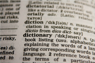 Page of a dictionary giving a definition